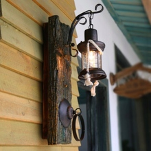 Vintage Exotic Chinese Country Loft Lantern Led E27 Wall Lamp for Restaurant Bar Living Room Resin Iron Glass Porch Light 1788