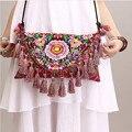 Ethnic trend women's flower embroidered tassel cross body bag girls' vintage canvas envelope messenger bag national clutch bag