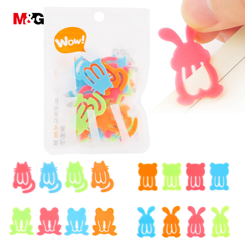 M&G Cartoon Animals Colorful Plastic Paper Clips 24pcs Bookmarks Paper Clips Binding Stationery Office Chancellory Wholesale
