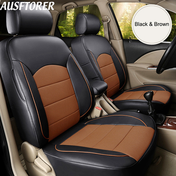 AUSFTORER Cowhide Auto Cover Seat for Mitsubishi Grandis Automobiles Seat Covers Set Leather 7 Seats Supprot Cushion Accessories