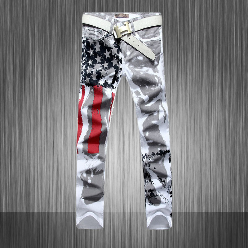 ФОТО Spring and autumn men's clothing fashion five star print american flag denim jeans male skinny pencil pants trousers MB548 Z15