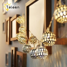 TSLEEN Moroccan Ball String Lights Xmas Wedding Party Decoration Outdoor 2M 20Leds Iron Silver Lamp Battery Operated Fairy Lamps
