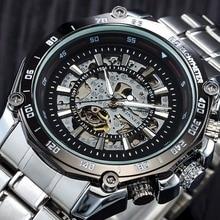 Победитель, светящиеся брендовые стальные Мужские автоматические механические часы, скелет, военные, мужские часы, мужские часы, Relojes hombre