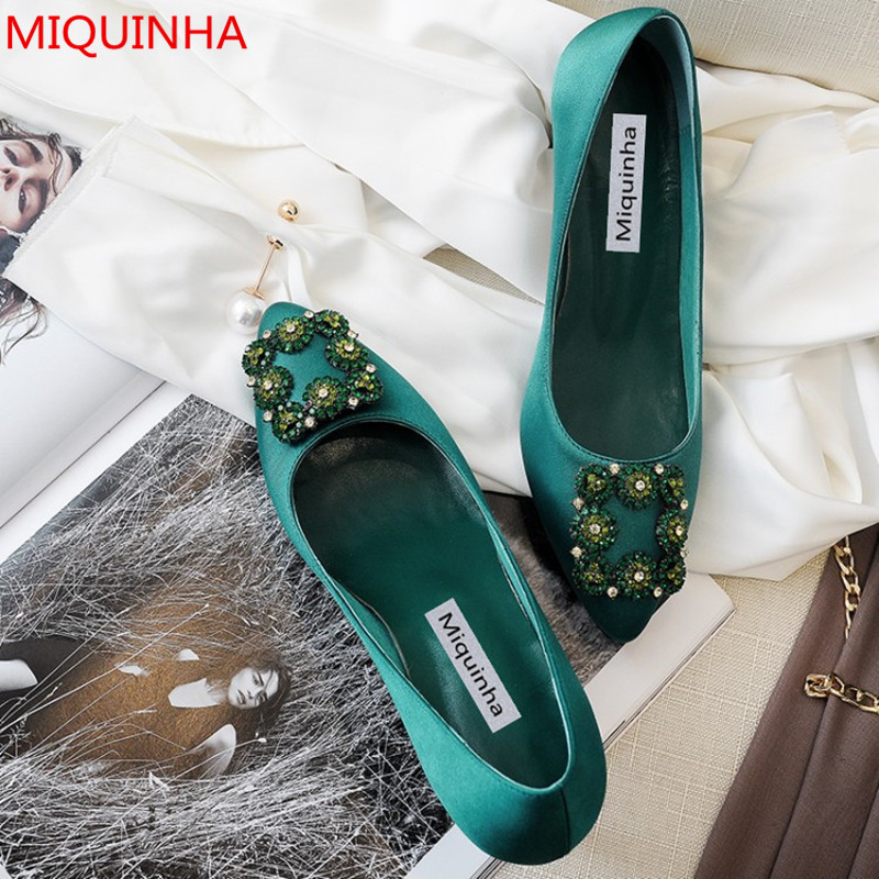 New Fashion Green Stain Hangisi Crystal Flats Pointed Toe Candy Colors Jewel Buckled Ballet Women Party Wedding Shoes Woman weweya 2017 summer candy colors ladies flats fashion pointed toe shoes woman new flat shoes women plus size chaussure femme