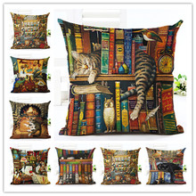 Cute Book Cat Party Cushion Customized Throw Pillow Home Decorative Sofa Cushions  Linen Square Printing Cojines Pillow