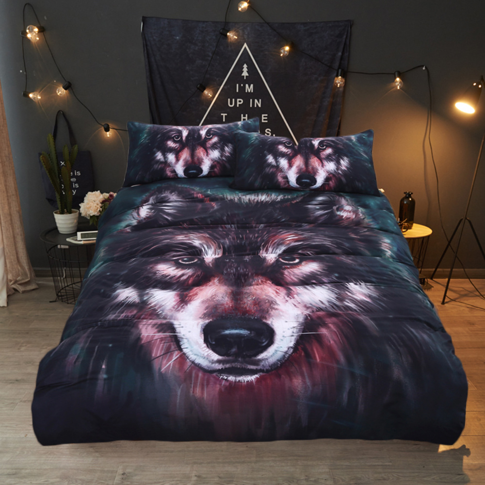 The Wolf Bedding Set Soft Bedclothes Twill Print Duvet Cover Set with Pillowcases 4pcs Bed Set HomeThe Wolf Bedding Set Soft Bedclothes Twill Print Duvet Cover Set with Pillowcases 4pcs Bed Set Home