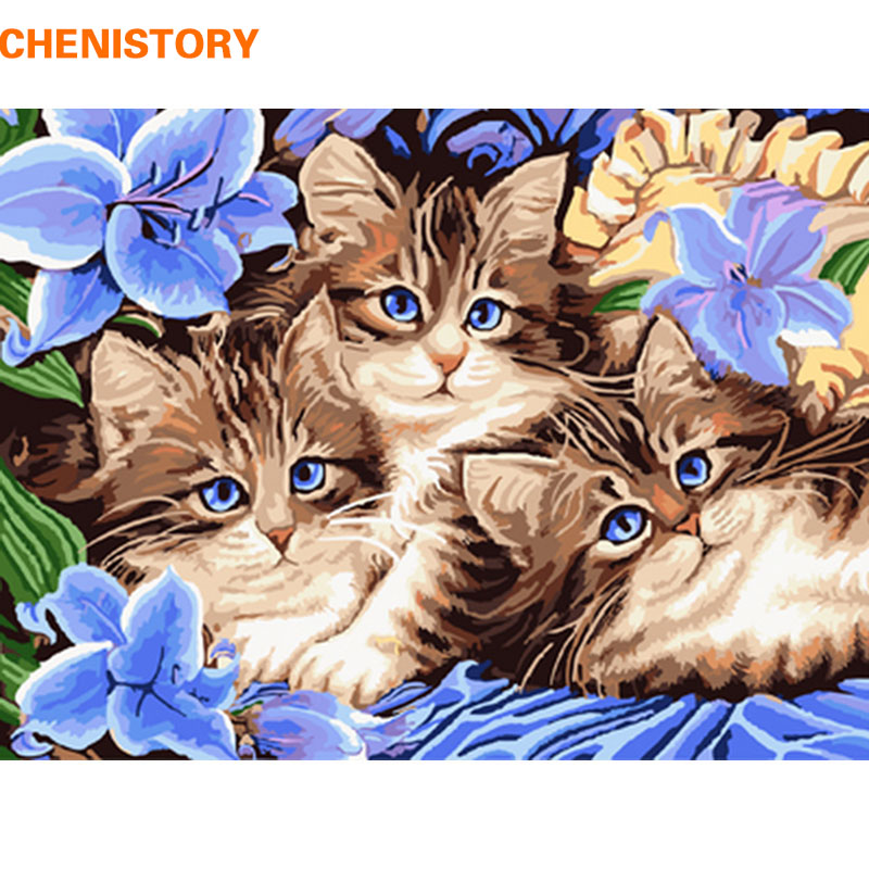 CHENISTORY Cat Family Animals DIY Painting By Numbers Kit Wall Art Picture Hand Painted Oil Painitng For Home Decor 40x50cm Arts