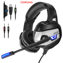 ONIKUMA K5 Gaming Hörlurar Deep Bass Stereo Game Headset med USB LED Light Hörlurar för PC PC PS4 Laptop Xbox One