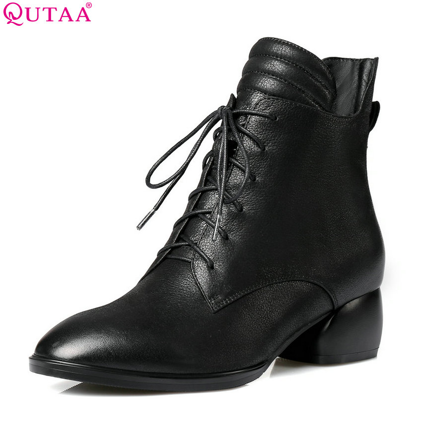 QUTAA 2019 Cow Leather +Pu Fashion Women Ankle Boots All Match Winter Shoes Lace Up Zipper Woman Motorcycle Boots Big Size 34-42 new 2016 fashion women winter shoes big size 33 47 solid pu leather lace up high heel ankle boots zapatos mujer mle f15