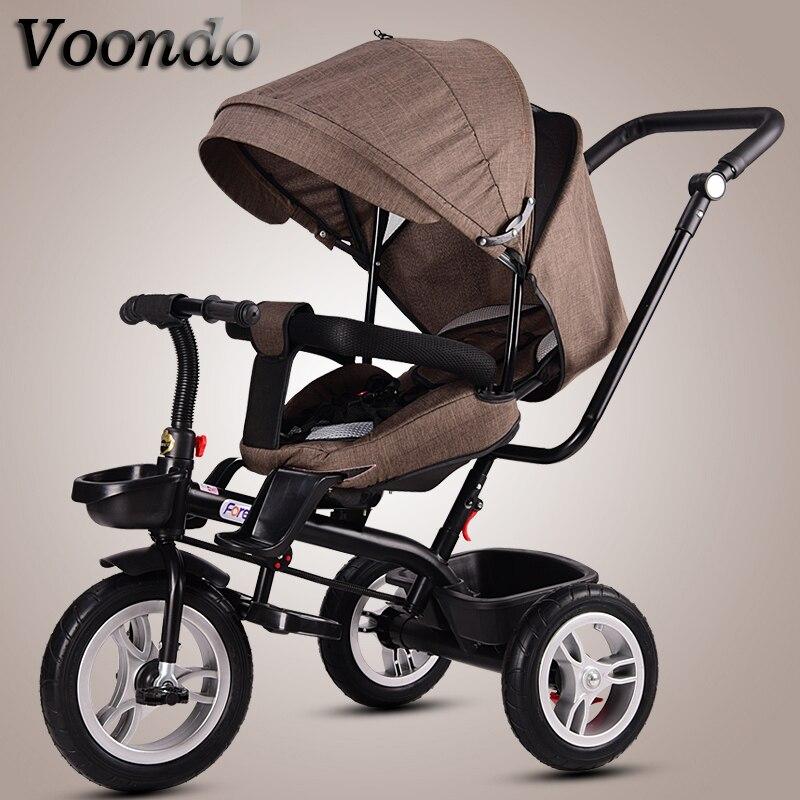 Chariot bébé vélo enfants tricycle siège rotatif avec poussée à la main vélo pliant bébé vélo enfant 1-3-5 vélo