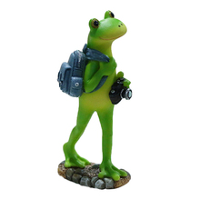 1 PC Cartoon Collectible Cute Travel Frog Decoration Frog Statue Craft Figurine Resin