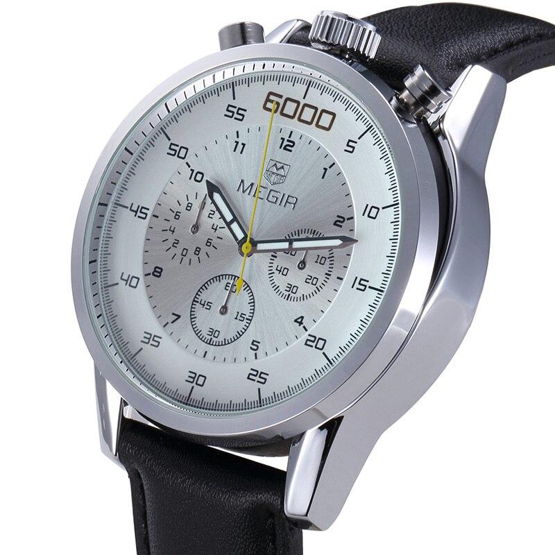Megir Véritable En Cuir Mens Conception Montres De Luxe Marque Hommes Fonctionnelle Sport Montre Homme Horloge Casual Montre-Bracelet Reloj Hombre 2016