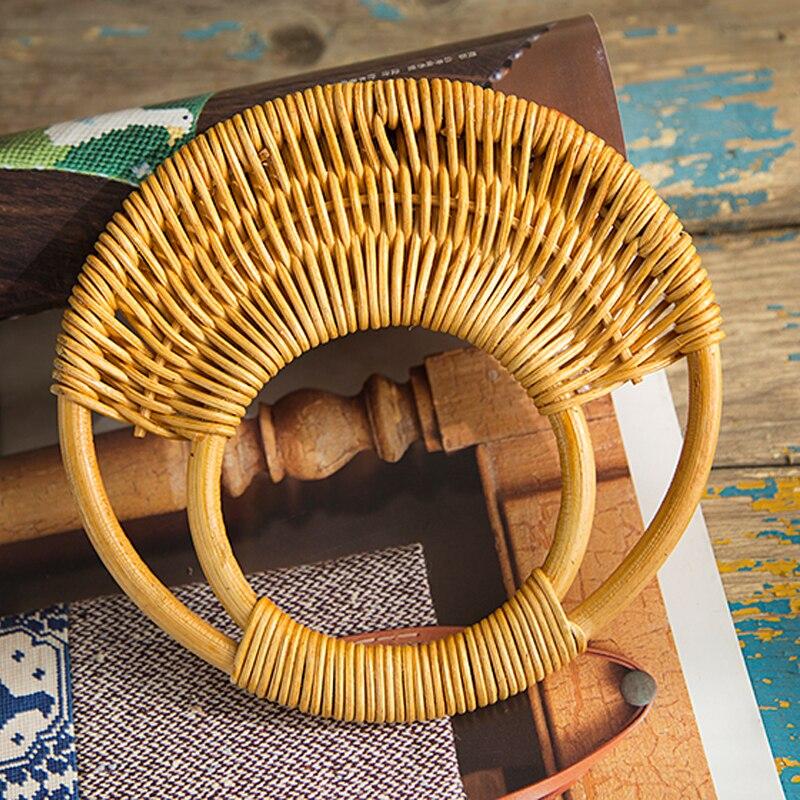 Round Rattan 2017 Purse Handle Bag Handle DIY Bag Hanger Wooden Bamboo Plastic Purse Frame Fashion Strap Cane Straw Bag Handle