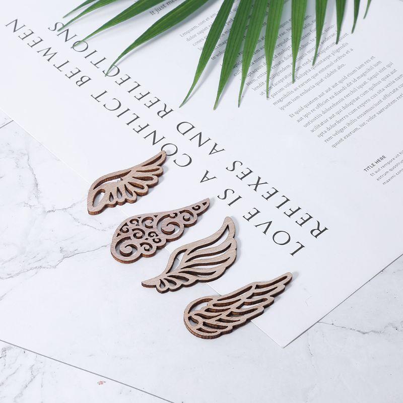 10pcs Laser Cut Wood Embellishment Wooden wings Shape Craft Wedding Decor