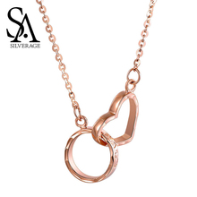 SA SILVERAGE Love Buckle Letter Necklaces Real Gold Jewelry 18K Rose Heart Pendant Woman  Chain
