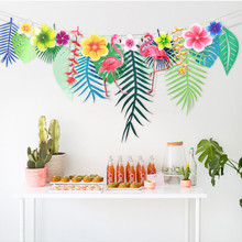Hot sale Flamingos and leaf Garland Bunting Banner Baby Shower Wedding Birthday Summer Hawaiian Luau Party Decor Supplies