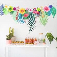 Hot sale Flamingos and leaf Garland Bunting Banner Baby Shower Wedding Birthday Summer Hawaiian Luau Party Decor Supplies