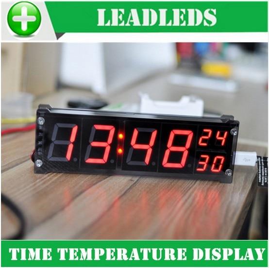 1,2 дюйма настольный Большой Цифровой светодиодный дисплей, точные электронные часы с температурой, Автомобильная сигнализация, внутреннее ...