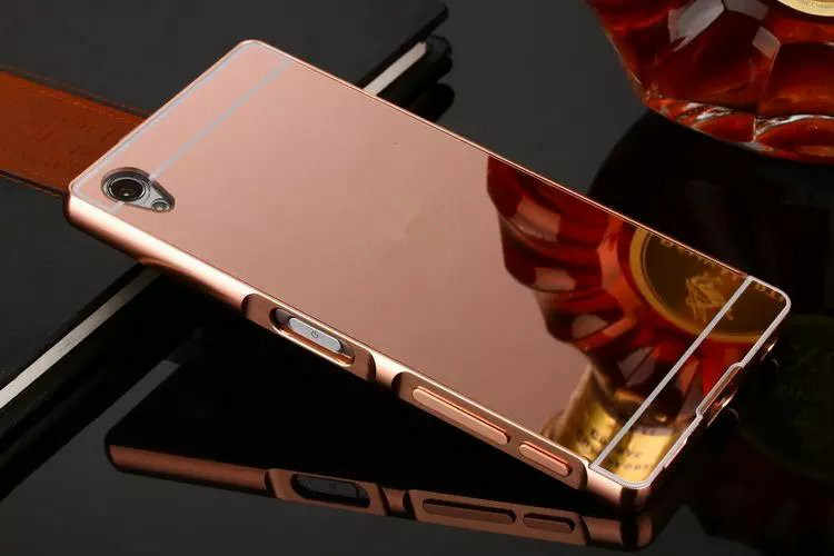 Luxe Rose Or Miroir étuis pour Sony xperia XA Ultra Alumimum Métal Cadre de Couverture de shell pour Sony xperia XA1 Ultra