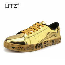 LFFZ 39-47 Fashion Men Sneakers Golden Sequin Vulcanize Shoes Men Stomata Breathable Casual Shoes Letter Texture Flats Big Size
