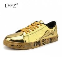 LFFZ 39 47 Fashion Men Sneakers Golden Sequin Vulcanize Shoes Men Stomata Breathable Casual Shoes Letter Texture Flats Big Size
