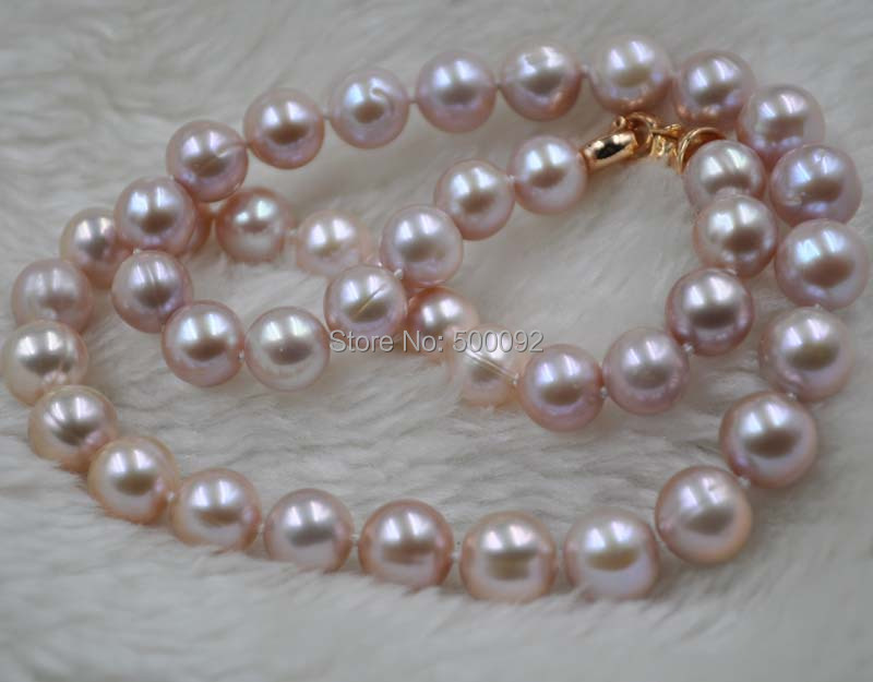 9.5 10mm near round purple freshwater pearl necklace gold clasp