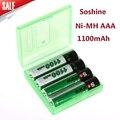 4 unidades/pacote soshine ni-mh bateria aaa 1100 mah baterias recarregáveis da bateria + carregador de caixa de bateria portátil