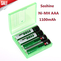 4pcs/pack Soshine Ni-MH AAA Battery 1100mAh  Batteries Rechargeable Battery +Portable Battery Box