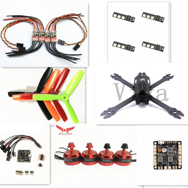 F2 mito 210 pure carbon frame kit for DIY FPV mini drone 2205 2300KV motor + 20A ESC + 5045 propeller + NAZE32 diy h250 quadcopter frame kit fpv mini drone qav250 pure carbon frame cc3d 2204 2300kv motor simon k 12a esc 5045 prop