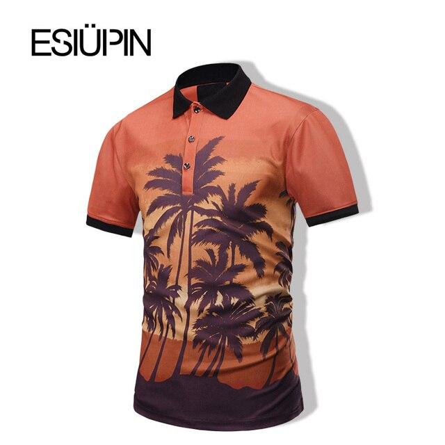 ESIUPIN Новый Мужчины Polo Homme Мода Модель 3D Печати Летом с коротким Рукавом polo рубашки мужчин Camisa Polo Рубашки Мужчин Плюс размер