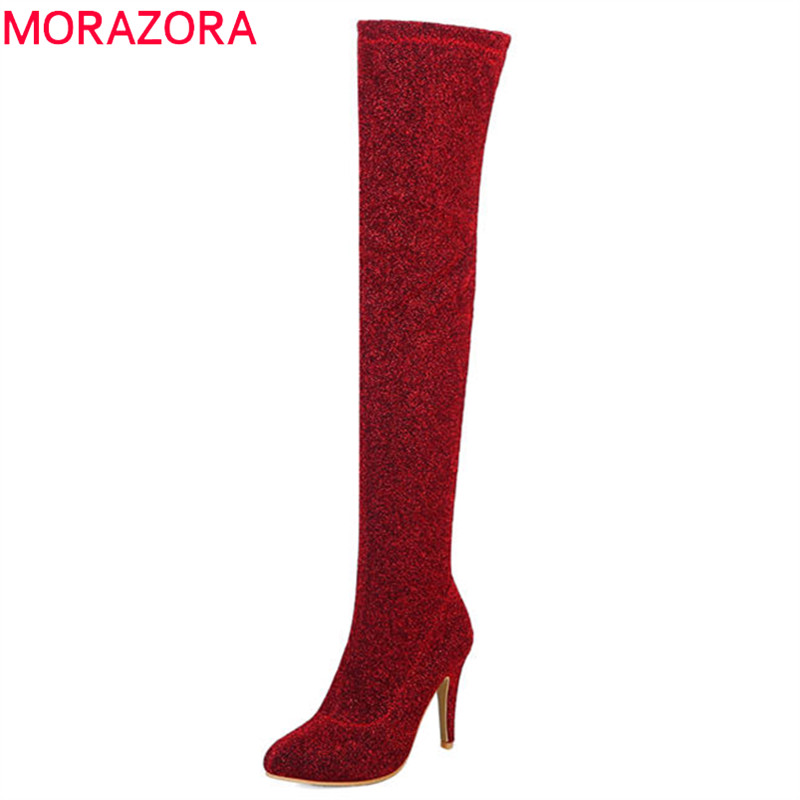 MORAZORA 2018 new arrival thigh high over the knee boots women solid colors Stretch socks boots autumn winter high heels shoes morazora 2018 new arrival over the knee boots women flock autumn winter boots fashion sexy long boots high heels dress shoes