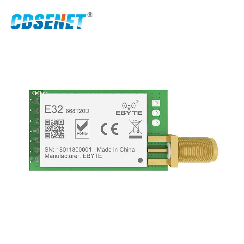 868MHz SX1276 LoRa 100mW Serial Port Wireless Transceiver E32-868T20D 868 MHz IoT Module RF Transmitter Receiver SMA Connector868MHz SX1276 LoRa 100mW Serial Port Wireless Transceiver E32-868T20D 868 MHz IoT Module RF Transmitter Receiver SMA Connector