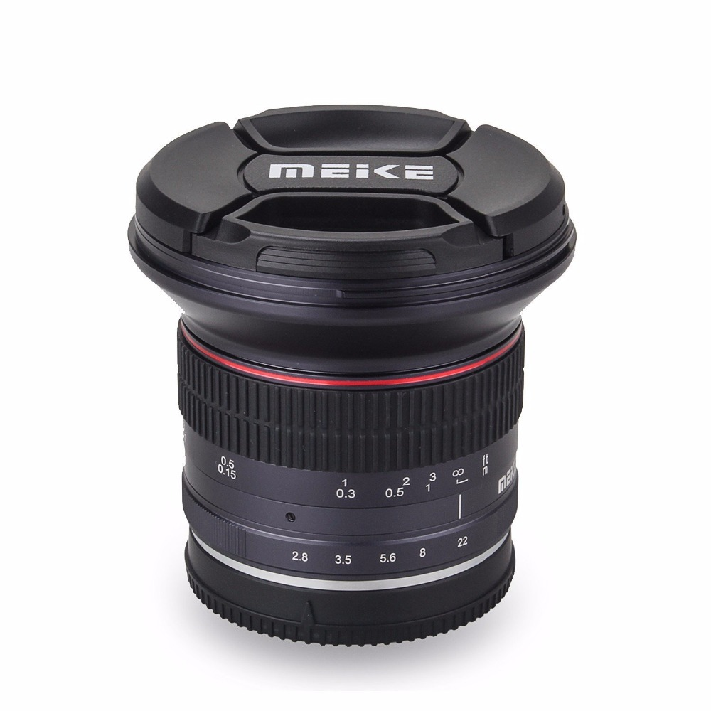 Meike 12mm f/2.8 Wide Angle Manual Focus Lens for Canon EF-M Mount Mirrorless Camera with APS-C meike 12mm f 2 8 wide angle fixed lens with removeable hood for panasonic olympus mirrorless camera mft m4 3 mount with aps c