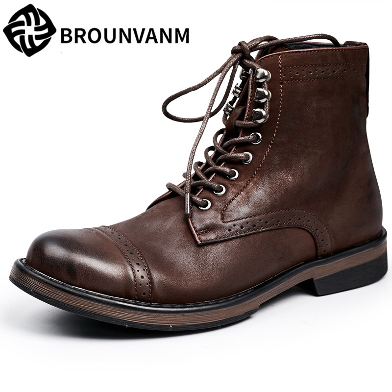 Men Riding leather boots high shoes Vintage 2017 new autumn winter British retro men shoes zipper