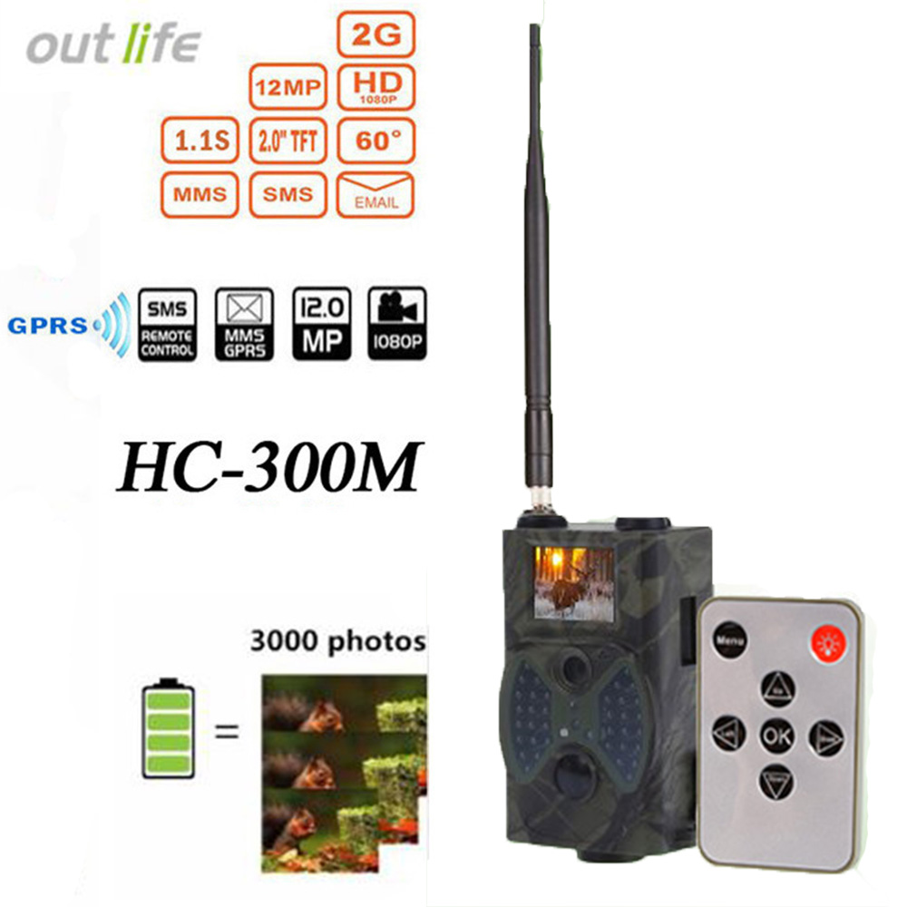 Outlife HC300M Trail Chasse Caméra Email MMS GSM Caméra Piège 12MP 1080 p Vision Nocturne Infrarouge GPRS Caméra De Chasse Sauvage la faune
