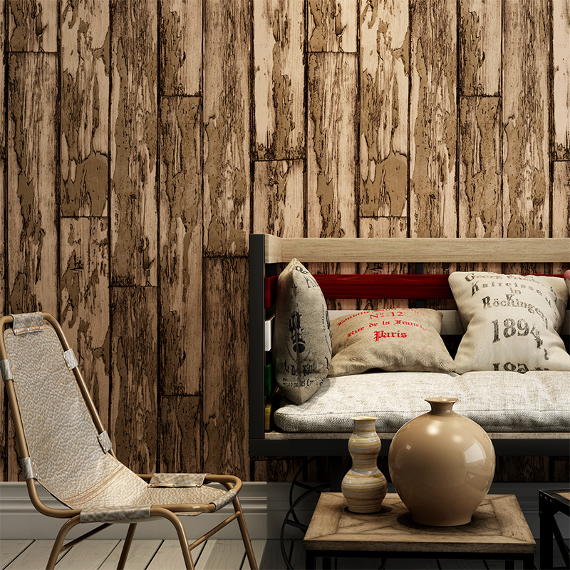 Vintage Imitation Wood Board Striped Wallpaper PVC Surface Waterproof Embossed Wall Paper Restaurant Living Room Papel De Parede vintage wallpaper modern 3d embossed imitation wood texture wall paper rolls for walls restaurant cafe background wall cocvering