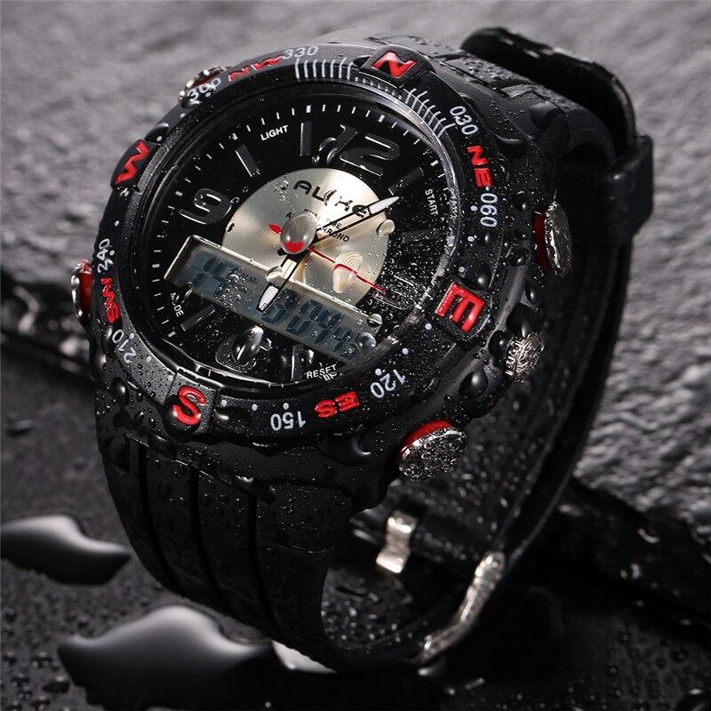 все цены на Men Watches 2018 New Alike Luxury Brand Sports Watch LED Analog-Digital Watches men Military waterproof Clock Relogio Masculino