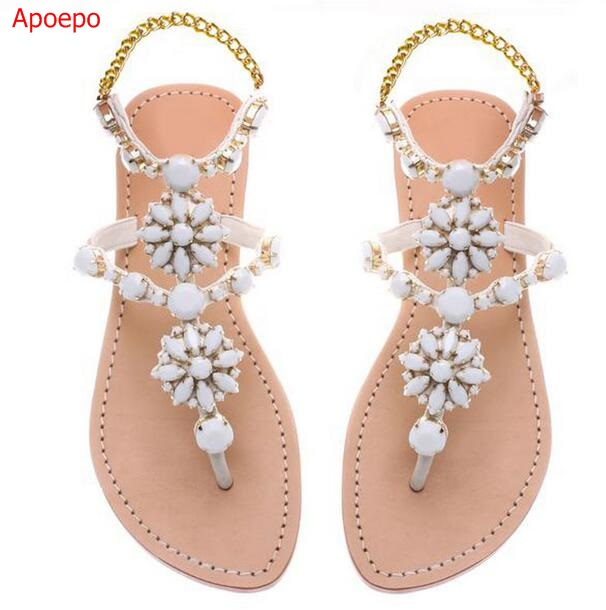 Large Size 13 Elegant Bling Bling Crystal Embellished Flat Sandals Ankle Strap Flip-flop Sequins Beaded Shoes Summer Beach Shoes