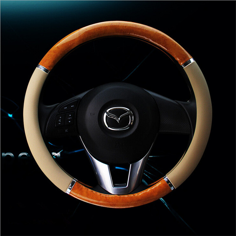 Carbon Steering Wheel Cover Wood Steering-Wheel Covers Mahogany Retro Leather Car Steering Wheels Hubs Car Interior Accessories vintage leather steering wheel cover flower printing women s car steering wheel covers for girls car steering accessories