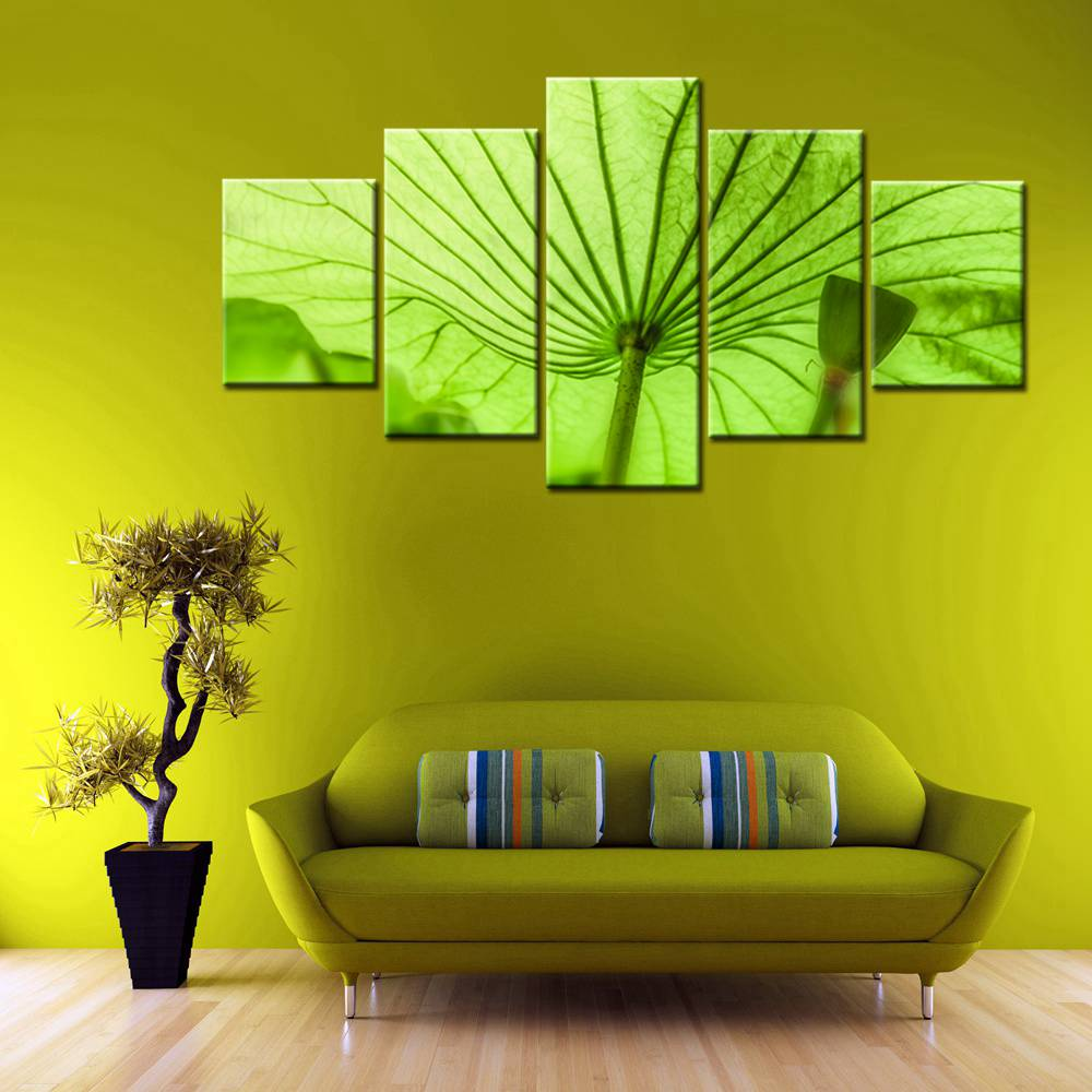 Wall Art Canvas Prints Green Lotus Leaf Picture Flowers Home ...
