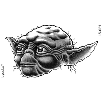 Jedi master yoda waterproof temporary tattoos men beauty warrior harajuku tatoo sleeves knight flash tattoo sticker tatuajes image