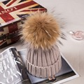 Thicken Knitted Hats for Children with 15CM Genuine Raccoon Fur Ball Tops Causal Kids Acrylic Cashmere Knitted Caps for Winter
