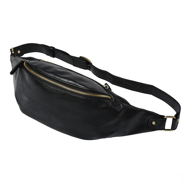 Etonweag Brands Cow Leather Belt Bag Men Travel Bags Black Fashion Zipper Pack Designer Waist