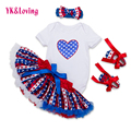 Forth of July Baby Girl Clothing Sets Cotton Short Sleeve Romper + Tutu Skirt + Headband + Shoes 4 Pcs Original Newborn Clothing