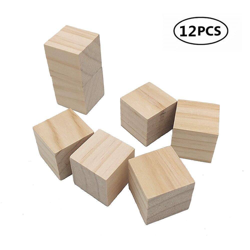 Wooden Square Round Cube Discs Craft Blocks Creative Toy Home Decor CB