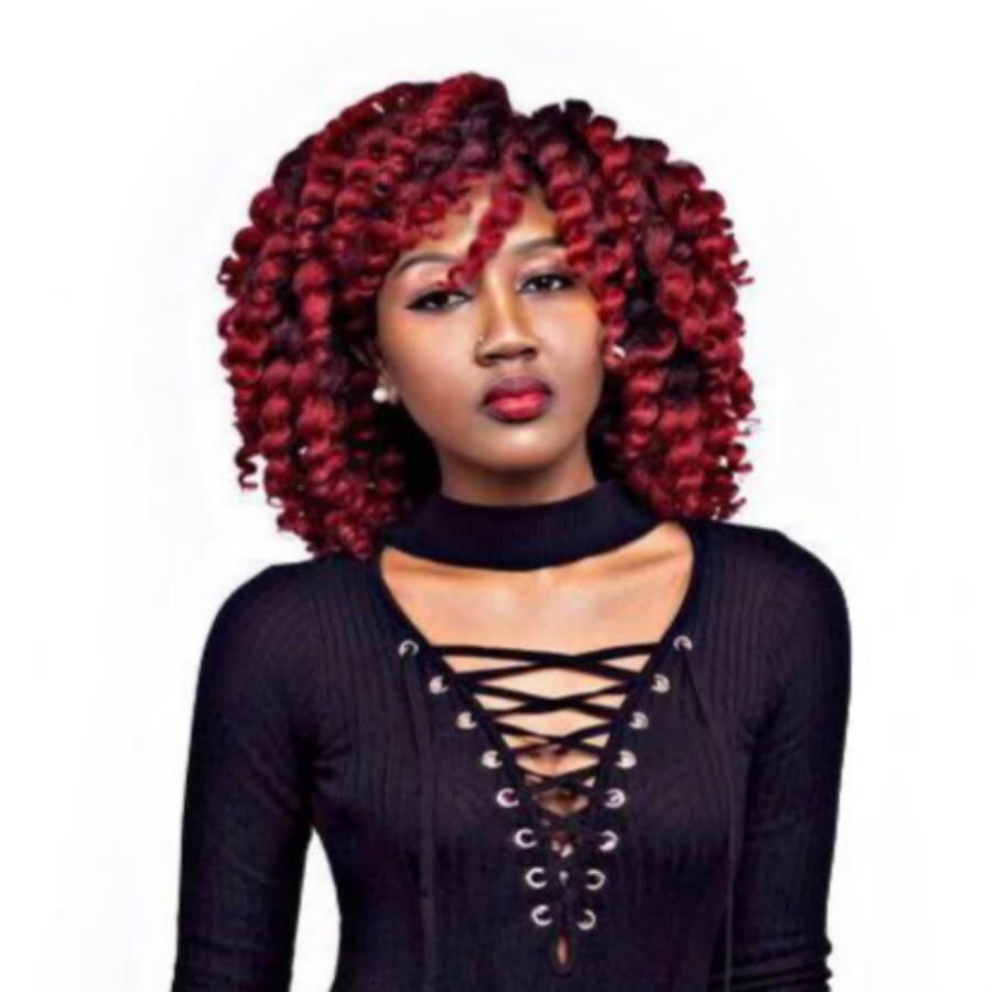 Jamaican Bounce Crochet Hair 8 Inch Crochet Braid Synthetic Braiding Hair Curly Crochet Hair Extensions Ombre Black Brown Hair