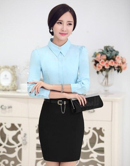 Новый Элегантный Тонкий Моды Деловой Женщины Работают Костюмы Блузка И Юбка Дамы Офис Рубашки Топы Одежда Костюмы Устанавливает Плюс Размер