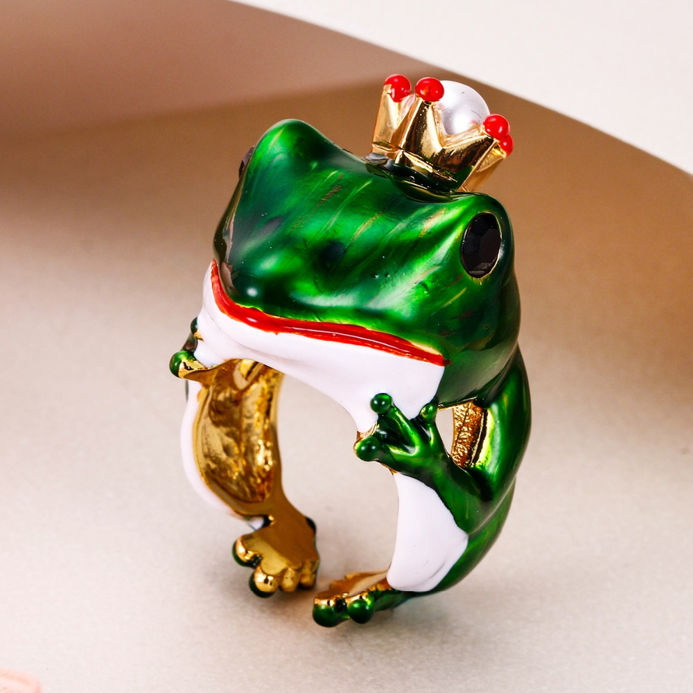 Bella Fashion Lovely Crown Frog Animal Party Ring Green Enamel Open Ring Gold Tone For Women Girl Party Daily Jewelry Gift ring bella rosa ring page 1
