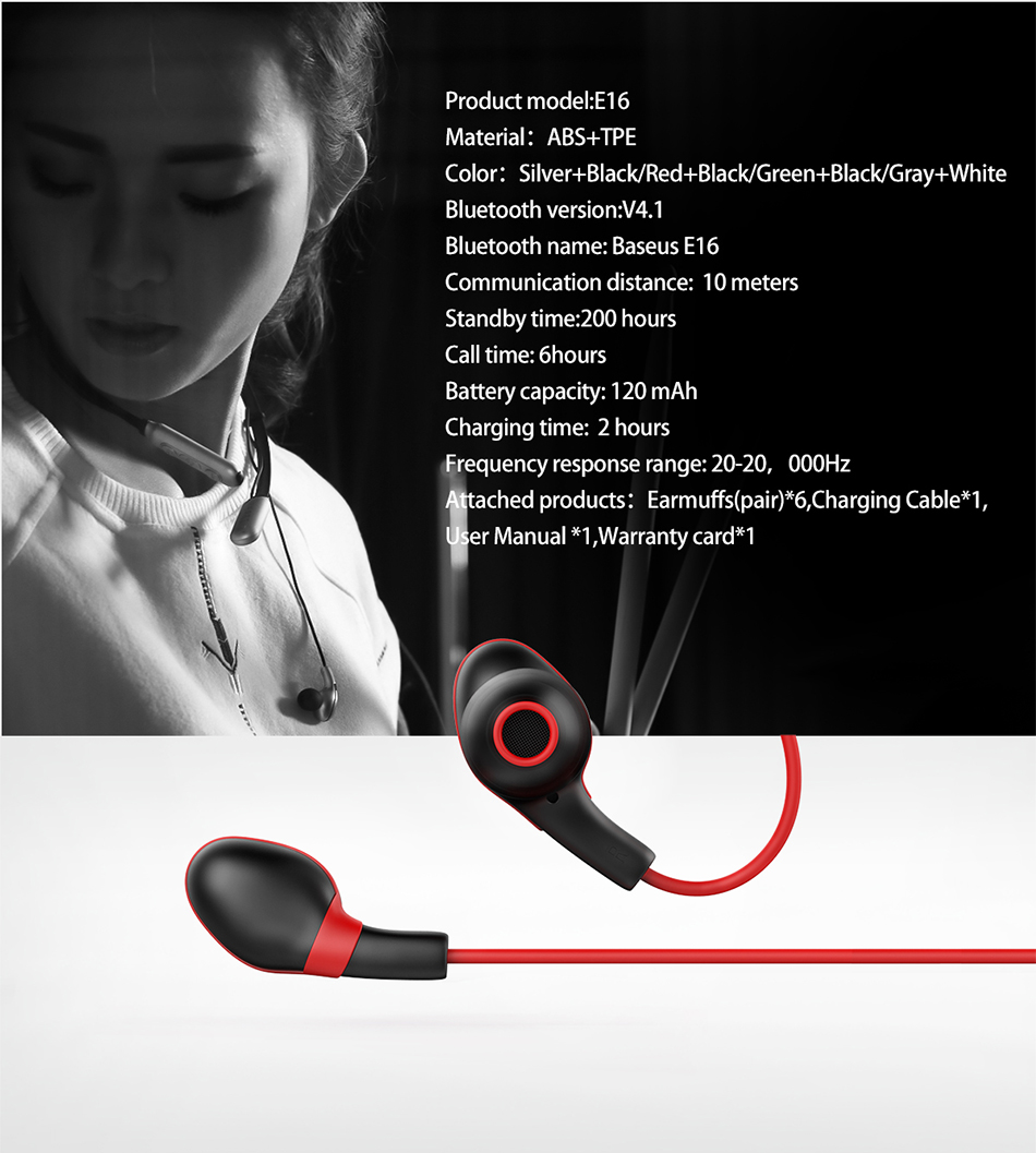 Baseus Bluetooth Earphone In-Ear Wireless Sports Earphones Bass sound Headset with microphone for iPhone 7 8 Xiaomi mobile phone
