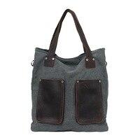 New Canvas Shoulder Bag Retro Mad Horse Leather Shoulder Bag Casual Handbag Men & Women Universal Messenger Bag Large Capacity